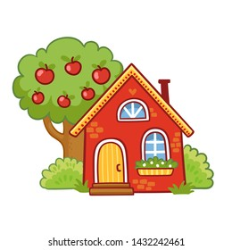 Small house stands next to an apple tree on a white background. Vector illustration in cartoon style.