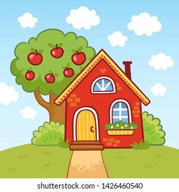 Small house stands on a hill next to an apple tree. Vector illustration in cartoon style.