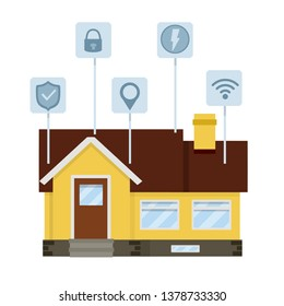 Small house. Suburban one-storey building. Smart house. Online system management. Wifi, lock, security, electricity, energy, location. Modern effective communication. Cartoon flat illustration
