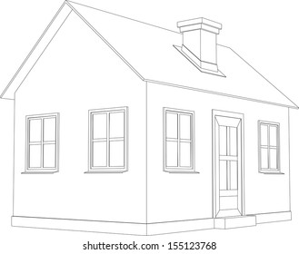 Small house. Wire-frame building on the white background. EPS 10 vector format