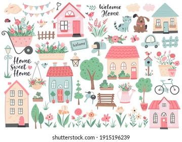 Kleine Häuser, Gartenblumen und Bäume. Ideal für Scrapbooking, Poster, Tag, Aufkleber Kit, Grußkarten, Partyeinladungen. Handgezeichnete Vektorgrafik.