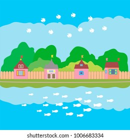 Small houses with green trees outside the fence stand on the shore of the lake. In the blue sky white birds fly. In the blue water white fish swim.