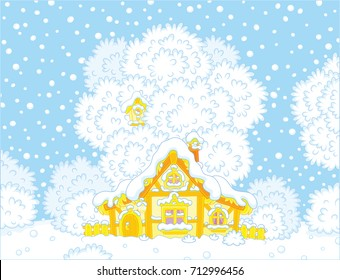 Small hut snow-covered on Christmas