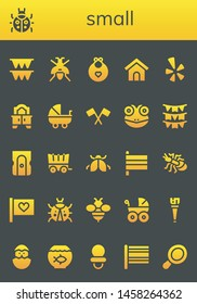 small icon set. 26 filled small icons.  Simple modern icons about  - Flags, Ladybug, Wasp, Baby bib, Dog house, Yelp, Mirror, Stroller, Flag, Frog, Sharpener, Carriage, Ant, Bee