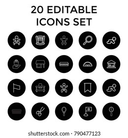 Small icons. set of 20 editable outline small icons such as baby, barn, baby crawl, mirror, manicure scissors, newborn child. best quality small elements in trendy style.