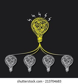 small idea make big idea or every bulb connect to small bulb concept vector