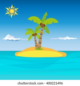 Small isolated private island with beautiful palm tree in the middle of sea