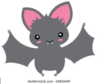 Small kawaii flying cartoon bat.