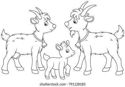 A small kid, a goat and a he-goat, a black and white vector illustration in funny cartoon style for a coloring book