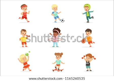 4696ca4a8ae453 Small Kids Playing Sportive Games And Enjoying Different Sports Exercises  Outdoors And In Gym Set Of