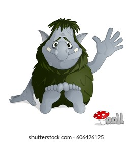 Small kind forest troll of gray from norvegian folklore dressed in leaves sitting and greeting drawn in cartoon style