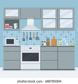 Small kitchen room with furniture in flat style. Vector illustration