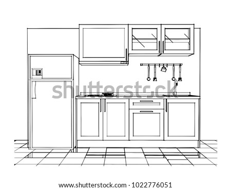 Small Kitchen Set Sketch Design Stock Vector Royalty Free
