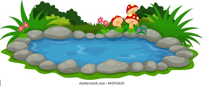 A small lake cartoon