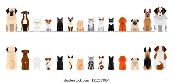 小さくて大きい犬と猫の境界線セット、全長、前後