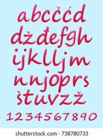 Small letters of Serbian and Croatian alphabet and numbers from zero to nine written in nail polish style