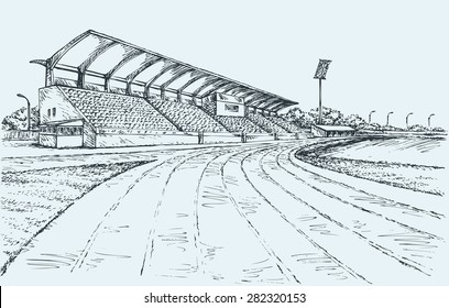 Small local modern village empty ballpark with spotlight, fan bleacher and canopy roof of sun or rain. Vector freehand ink drawn sketch in art doodle style. Panoramic view with space for text on sky