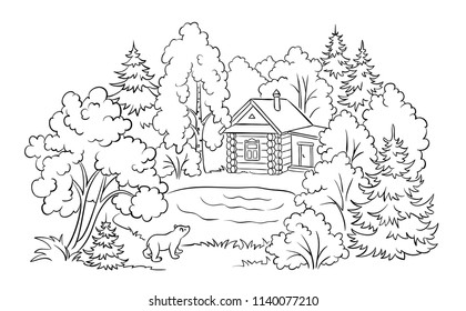 Small log house in forest near a lake and bear cub looking at house - coloring book illustration