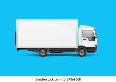 A small logistics lorry truck side view for advertising. Realistic Vector illustration