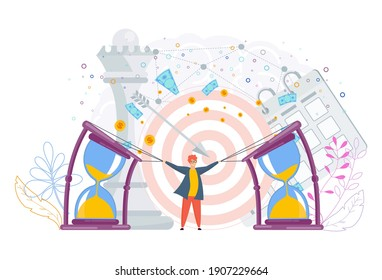 Small man bends a big hourglass. Flexible schedule concept. Time management to achieve results, victories in business. Trendy flat vector style.