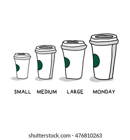 Small Medium Large Monday Funny Concept (Hand Drawn Coffee Cups Vector Illustration Poster Design)