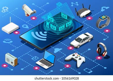 Small mobile device as home energy control panel. Eficiency abstract concept. Isometric infographic illustration. Vector design.