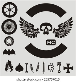Small motorcycle vector elements set (template)