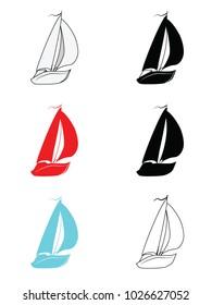 Small multi-colored sailboats. Vector illustration.