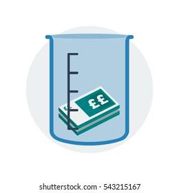 A small number of cash inside a measuring jug to symbolize  economical deficit vector illustration