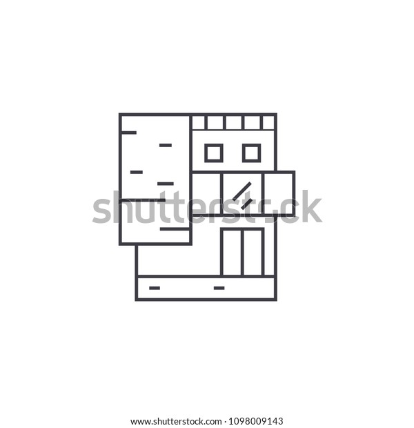 Small Office Building Thin Line Icon Stock Vector Royalty Free 1098009143