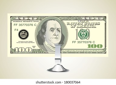 Small office desk stand with 100 american dollar banknote
