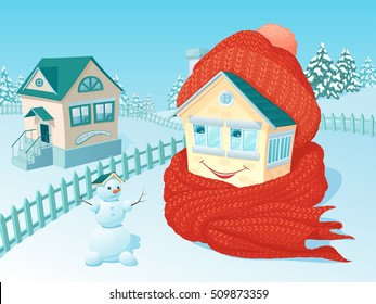 the small one-story lodge in winter rural areas which is wrapped up in a warm knitted scarf and a cap smiles and looks at neighbors