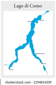 small outline map of the upper Italian Lake Como, Italy.