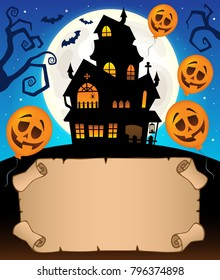 Small parchment and haunted mansion 2 - eps10 vector illustration.