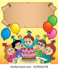 Small parchment with kids party topic 3 - eps10 vector illustration.