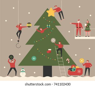 small people character decorated big Christmas tree with Santa clause. vector concept illustration flat design