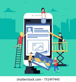 small people character decorated mobile technology. vector concept illustration flat design. Web adaptive mobile design and development. Site under construction. A team of young professionals