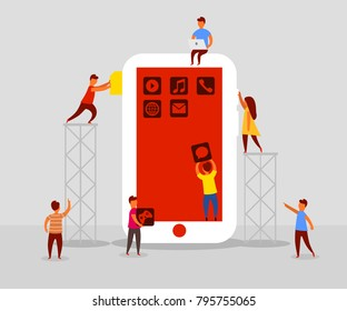 Small people character decorated mobile technology. Mobile development concept. Flat style. Vector illustration