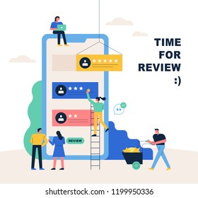 A small people character on a huge mobile phone is giving a late review and a star rating. flat design style vector graphic illustration.