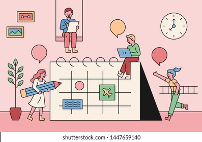 A small people character who plans a schedule around a large calendar. flat design style minimal vector illustration.