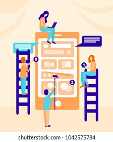 small people characters decorated mobile technology. vector concept illustration flat design