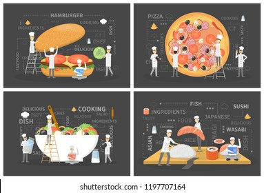 Small people in chef uniform and hat cook giant food. Pizza and burger, sushi and salad. Delicious dinner. Catering concept. Vector flat illustration