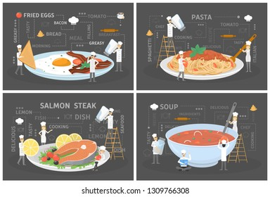 Small people in chef uniform and hat cook giant food. Omelette, pasta, fish and soup. Delicious dinner. Catering concept. Vector flat illustration