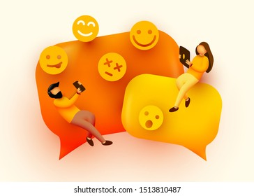 Small people flying around chat bubbles and emoji signs. Talking couple. Online messenger concept. Vector illustration.