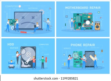 Small people repair a digital device set. Mobile phone and computer, motherboard fix. Technician with tool standing at broken smartphone. Vector flat illustration