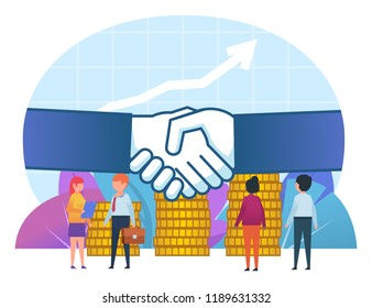 Small people stand near big hands handshake. Business deal, agreement, income growth. Poster, card for presentation, web page, banner, social media. Flat design vector illustration