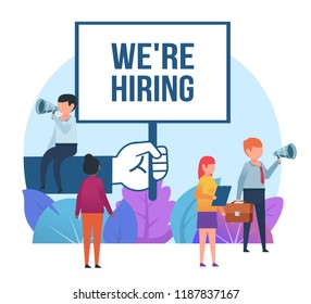 Small people standing near big hand holding we are hiring sign. Job recruitment, vacancy concept. Business poster for presentation, social media, banner, web page. Flat design vector illustration