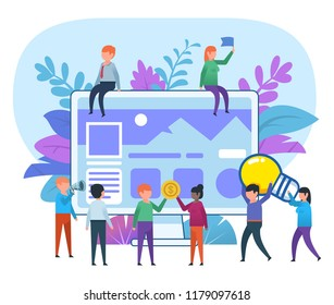 Small people working around big screen with website. Web application creation process, team. Business poster for presentation, social media, banner, web page. Flat design vector illustration