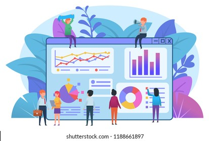 Small people working around big page with various infographics. Data analysis. Poster, card for presentation, web page, banner, social media. Flat design vector illustration