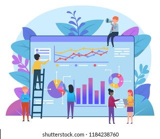 Small people working near big page with charts and diagrams. Business statistics, report, presentation. Poster for presentation, social media, web page, banner. Flat design vector illustration